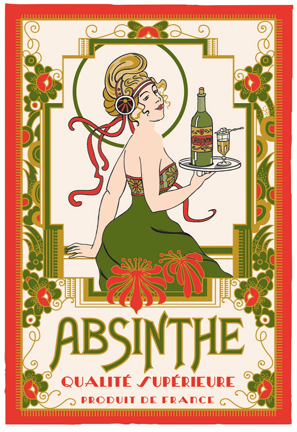 torchon coton absinthe made in france