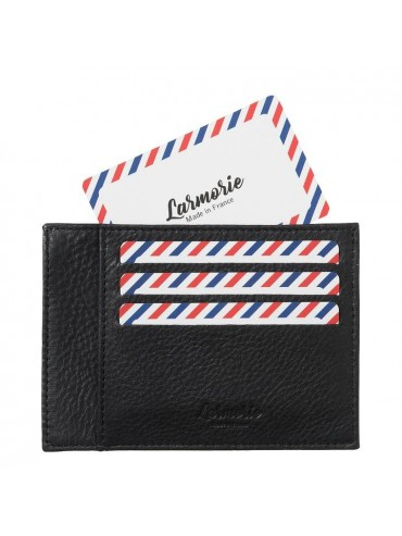 Paul Full Grain Nubuck Cow Leather Card Holder Black is Black