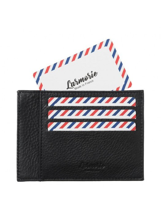 Full Grain Nubuck Cow Leather Card Holder Black is Black
