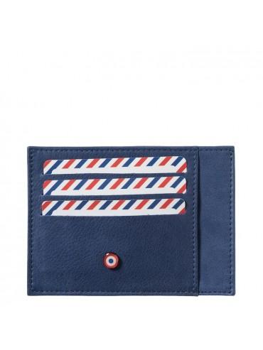 Full Grain Nubuck Cow Leather Card Holder Bleu