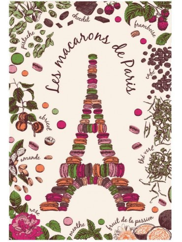 Eiffel Tower and Macarons Cotton Kitchen Towel