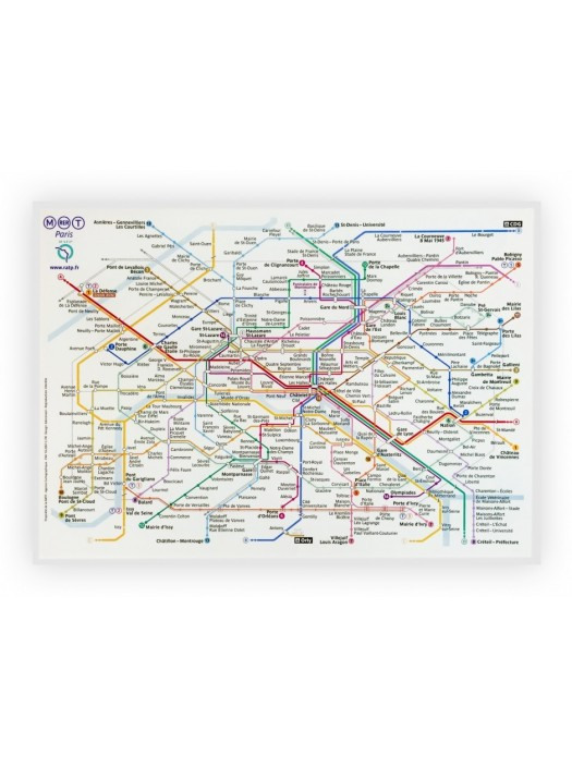 Parisian Metro Map Cotton Kitchen Towel Made in France