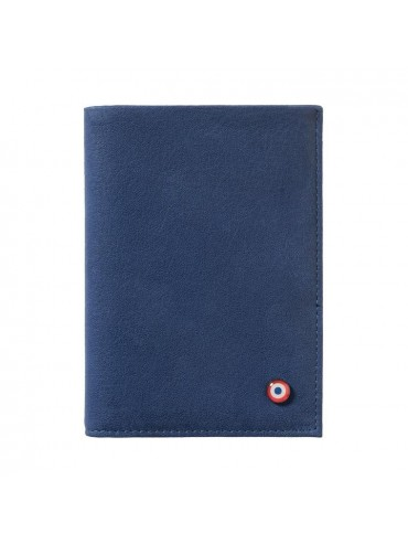 Full Grain Nubuck Cow Leather Wallet Blue