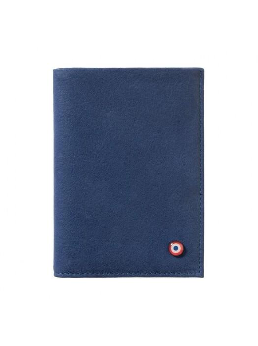 Full Grain Nubuck Cow Leather Wallet Blue