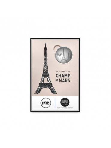 Eiffel Tower Champs de Mars postcard with Mini-Medal