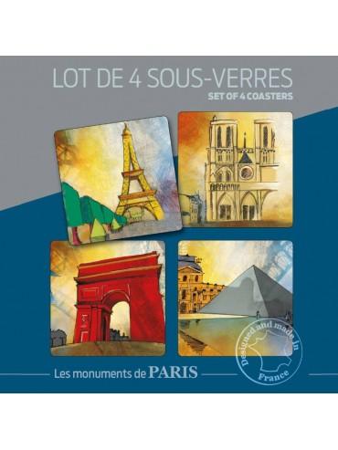 Pack 4 Dessous de Verre Monuments de Paris