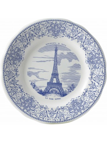 Gien Dessert Plate decorated with an Eiffel Tower drawing.