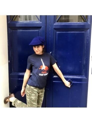Tee- Shirt Chat Dort Bleu 100% Coton