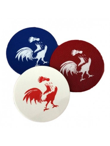 Set of 3 Glass Coasters - Blue White Red Rooster
