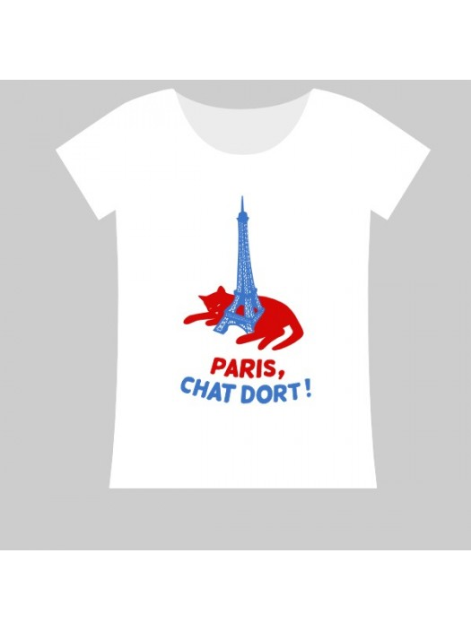 100% Cotton T-Shirt - Sleeping Cat with Eiffel Tower
