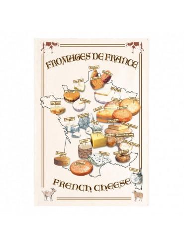 Torchon 100% Coton Carte des Fromages