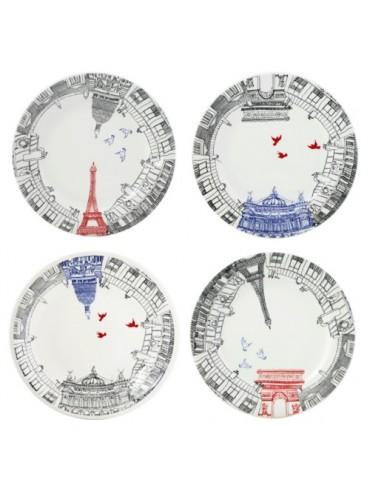 Coffret 4 Assiettes à Dessert Gien Ca C'est Paris
