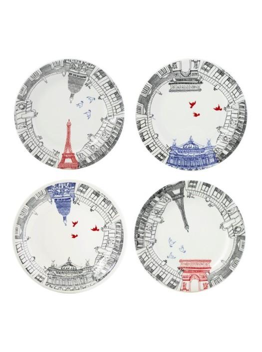 Boxed Set 4 Dessert Plates Gien Ca C'est Paris