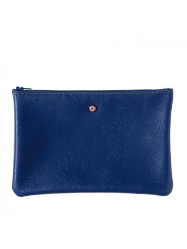 Blue Upcycling Cowhide Leather Pouch - Larmorie