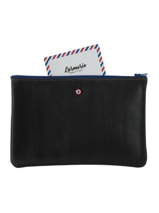 Black Upcycling Cowhide Leather Pouch - Larmorie