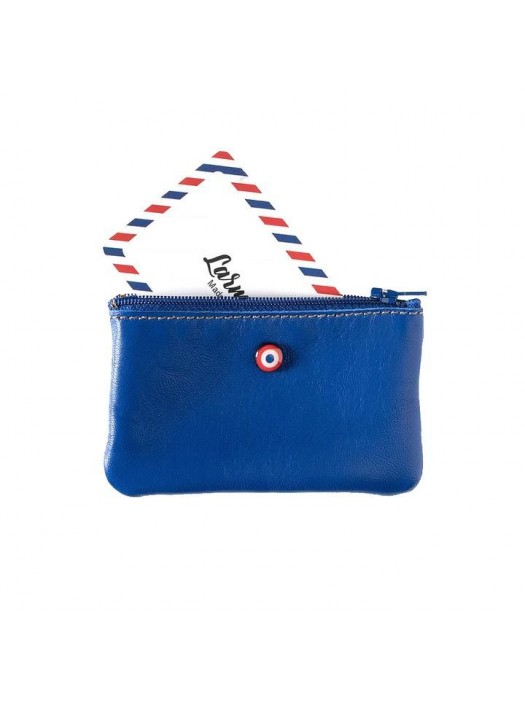 Blue Upcycling Cowhide Leather Wallet - Larmorie