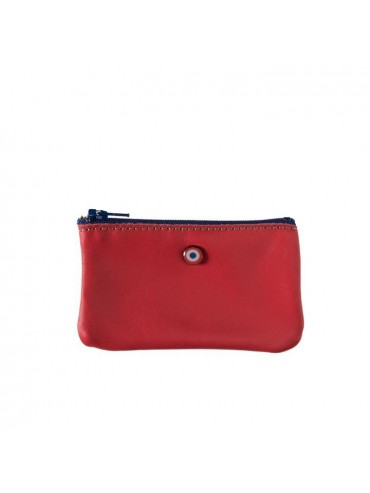 Red Upcycling Cowhide Leather Wallet - Larmorie