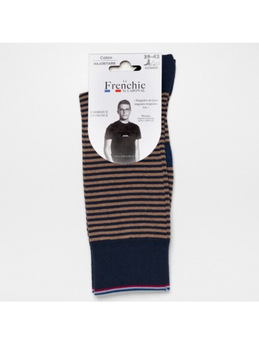 Navy-Beige Stripe Socks for Men La Frenchie
