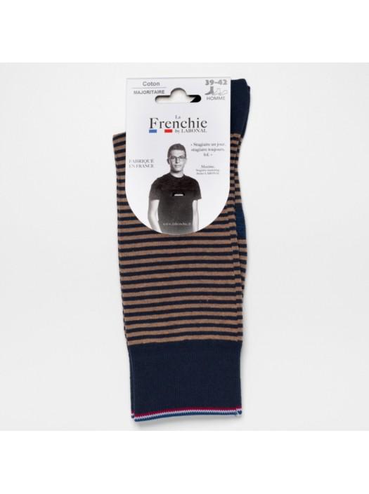 Navy-Beige Stripe Socks for Men La Frenchie