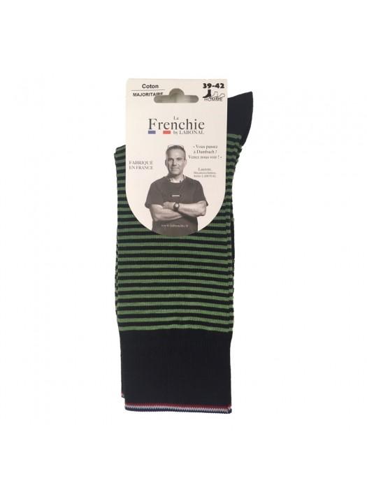 Navy/Green Stripe Socks for Men La Frenchie