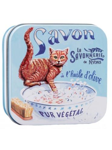 Savon 100g Fleur de Coton - Boite Métal Vintage - Chat Roux