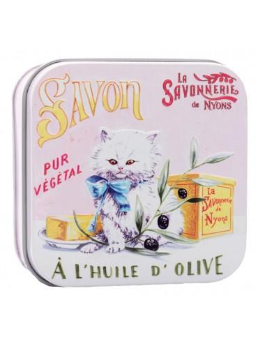 Savon 100g Fleur de Coton - Boite Métal Vintage - Chat Persan