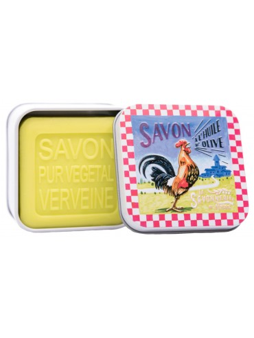 Savon 100g  Boite Metal Vintage Coq Français - Parfumé à la Verveine