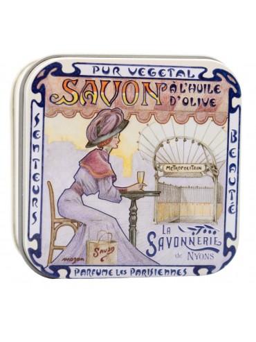 Savon 100g  Boite Metal Vintage Metro - Parfumé à la Rose De Mai