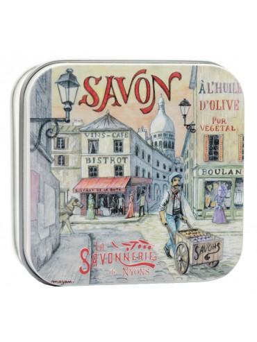 Savon 100g  Boite Metal Vintage Montmartre - Parfumé à la Rose De Mai