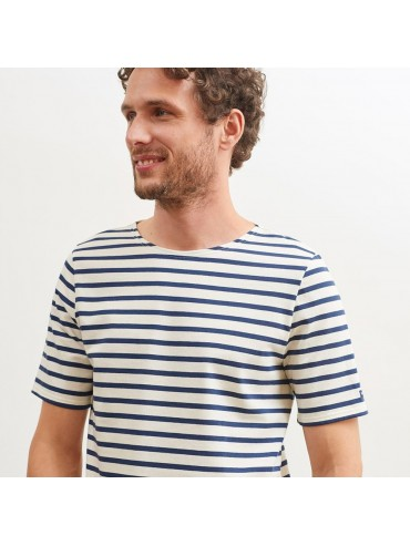Saint-James Breton Stripe Short Sleeve Shirt Unisex Fit Ecru/Navy