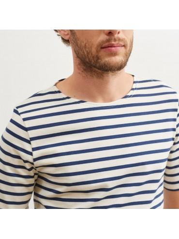 Saint-James Breton Stripe Short Sleeve Shirt Unisex Fit Ecru/Navy