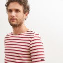 Saint-James Breton Stripe Short Sleeve Shirt Unisex Fit Ecru/Maroon