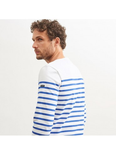 Saint-James Boat Neck Unisex Striped Shirt White/Royal-Blue