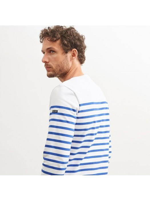 Saint-James Boat Neck Unisex Striped Shirt White/Royal-Blue