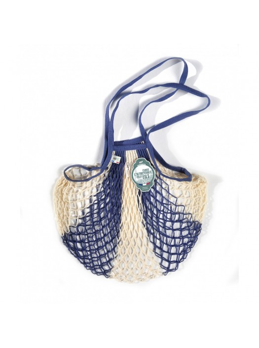 Shopping String Bag Blue and White