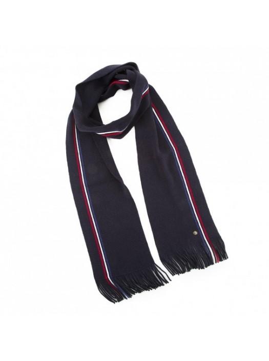 Silk Bow Tie - Dark Blue White Dots