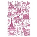 Dish Towel Red Toile de Jouy, Made In France, 100% Cotton