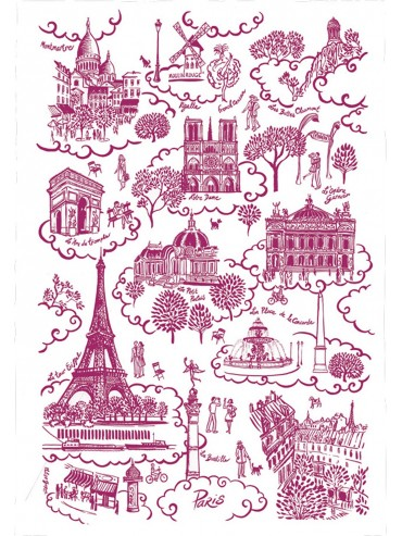 Cotton Red Toile de Jouy Towel